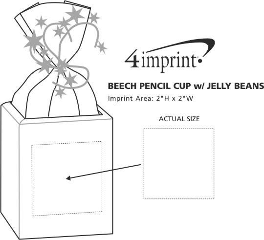 Imprint Area of Beech Pencil Cup with Jelly Beans