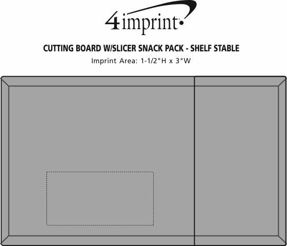 Imprint Area of Cutting Board with Slicer Snack Pack - Shelf Stable