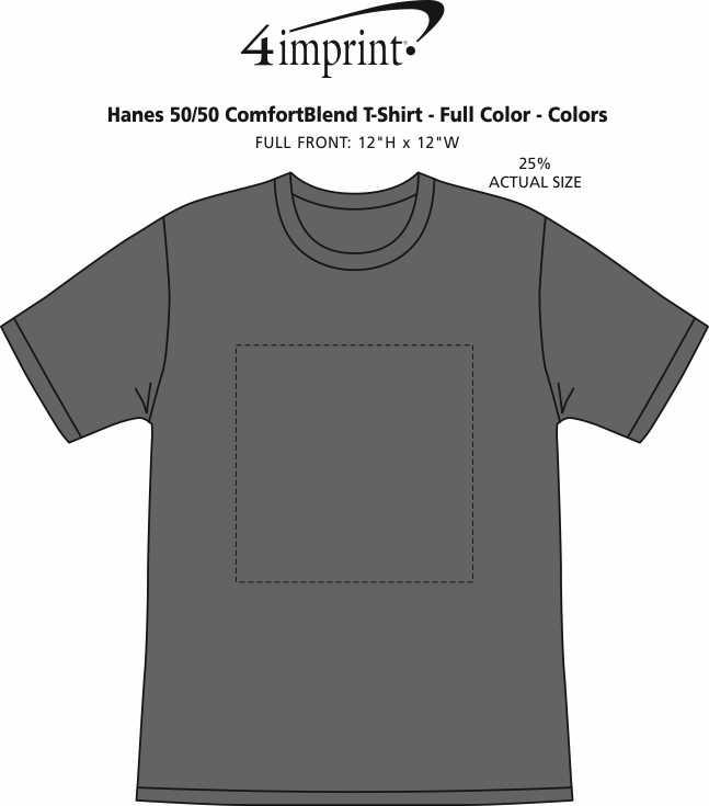Imprint Area of Hanes 50/50 ComfortBlend T-Shirt - Full Color - Colors