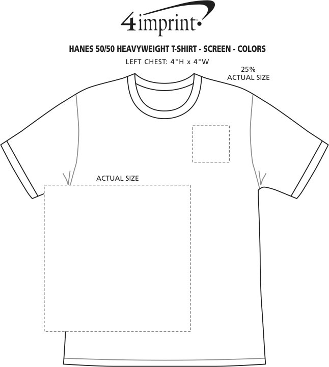 Imprint Area of Hanes 50/50 ComfortBlend T-Shirt - Screen - Colors
