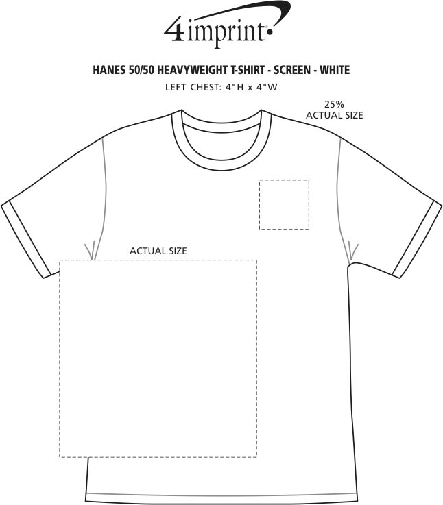 Imprint Area of Hanes 50/50 ComfortBlend T-Shirt - Screen - White