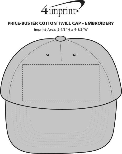 Imprint Area of Price-Buster Cotton Twill Cap - Embroidered