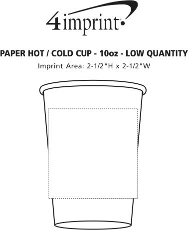 Imprint Area of Paper Hot/Cold Cup - 10 oz. -  Low Qty