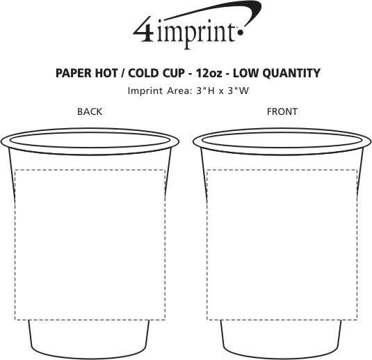 Imprint Area of Paper Hot/Cold Cup - 12 oz. - Low Qty