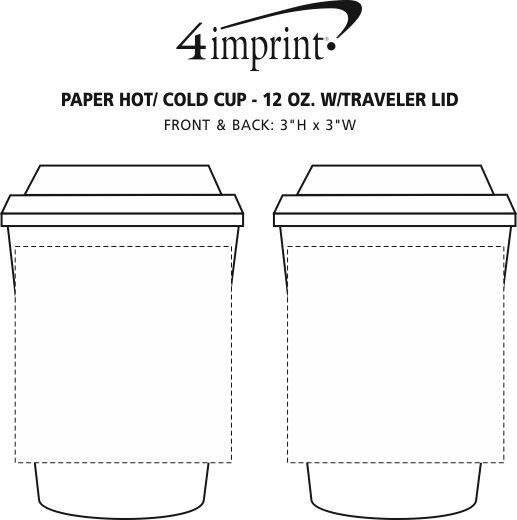Imprint Area of Paper Hot/Cold Cup with Traveler Lid - 12 oz.