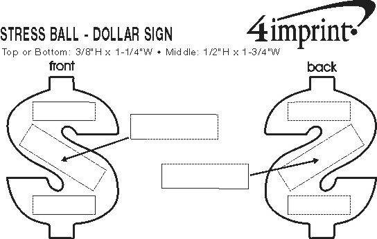 Imprint Area of Dollar Sign Stress Reliever