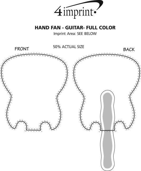 Imprint Area of Hand Fan - Guitar - Full Color