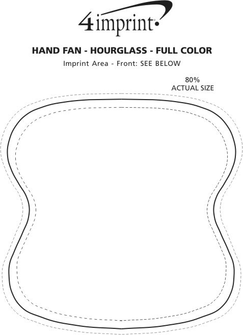 Imprint Area of Hand Fan - Hourglass - Full Color