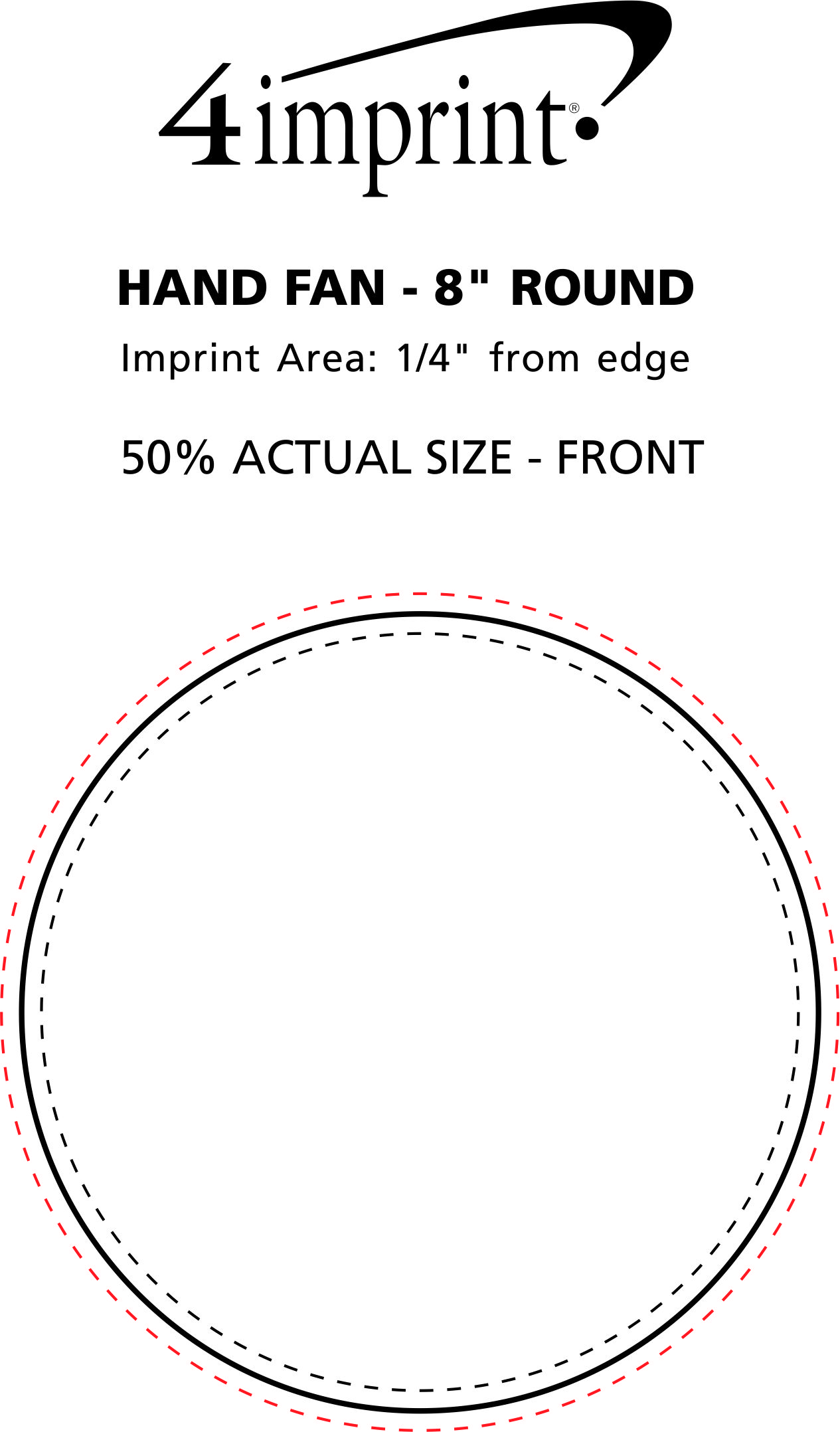"""Imprint Area of Hand Fan - 8"""" Round"""