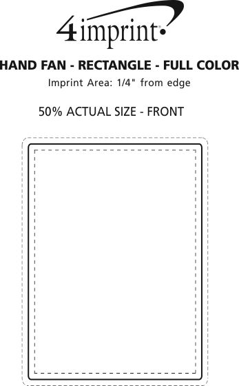 Imprint Area of Hand Fan - Rectangle - Full Color