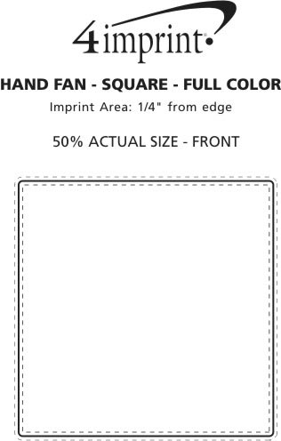 """Imprint Area of Hand Fan - 8"""" Square - Full Color"""