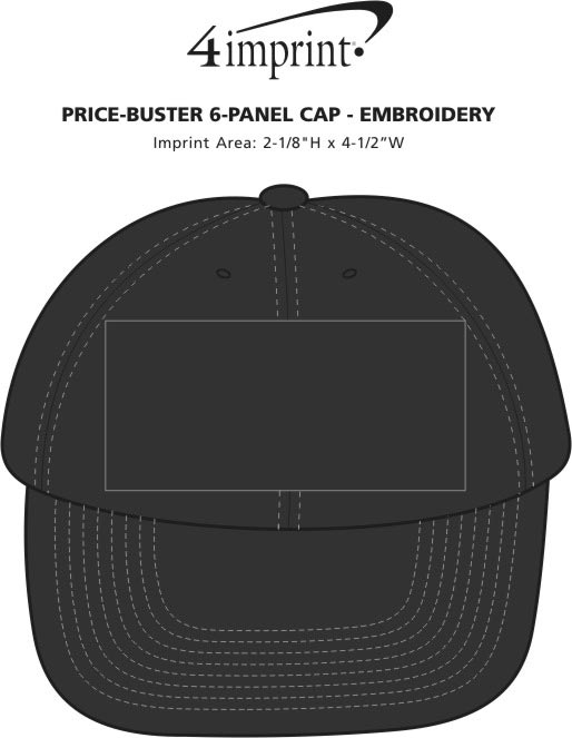 Imprint Area of Price-Buster 6-Panel Cap - Embroidered