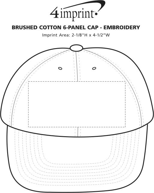 Imprint Area of Brushed-Cotton 6-Panel Cap - Embroidered