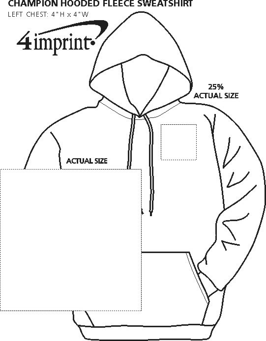 Imprint Area of Champion Fleece Hoodie - Screen