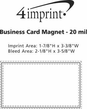 Imprint Area of Bic Full Color 20 mil Business Card Magnet