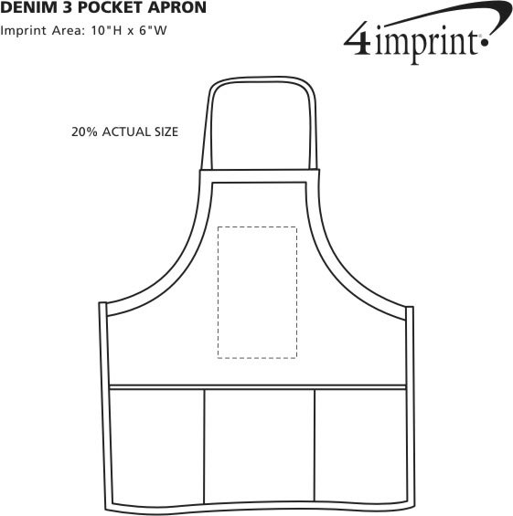 Imprint Area of Denim 3-Pocket Apron