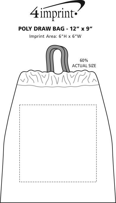"Imprint Area of Poly-Draw Bag - 12"" x 9"""
