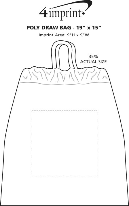 "Imprint Area of Poly-Draw Bag - 19"" x 15"""