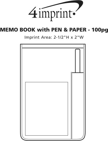 Imprint Area of Memo Book with Pen and Paper - 100 pages