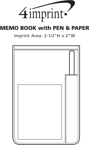 Imprint Area of Memo Book with Pen and Paper - 30 pages