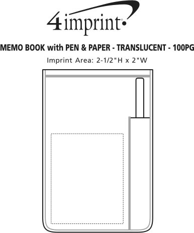 Imprint Area of Memo Book with Pen and Paper - Translucent - 100 pages
