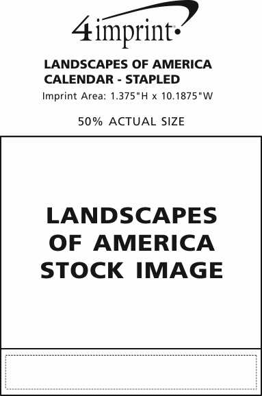 Imprint Area of Landscapes of America Calendar - Stapled
