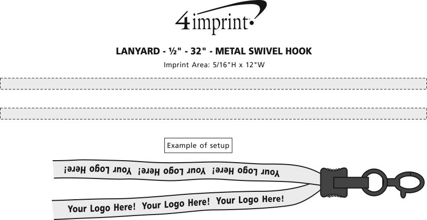 """Imprint Area of Lanyard - 5/8"""" - 32"""" - Metal Lobster Claw"""