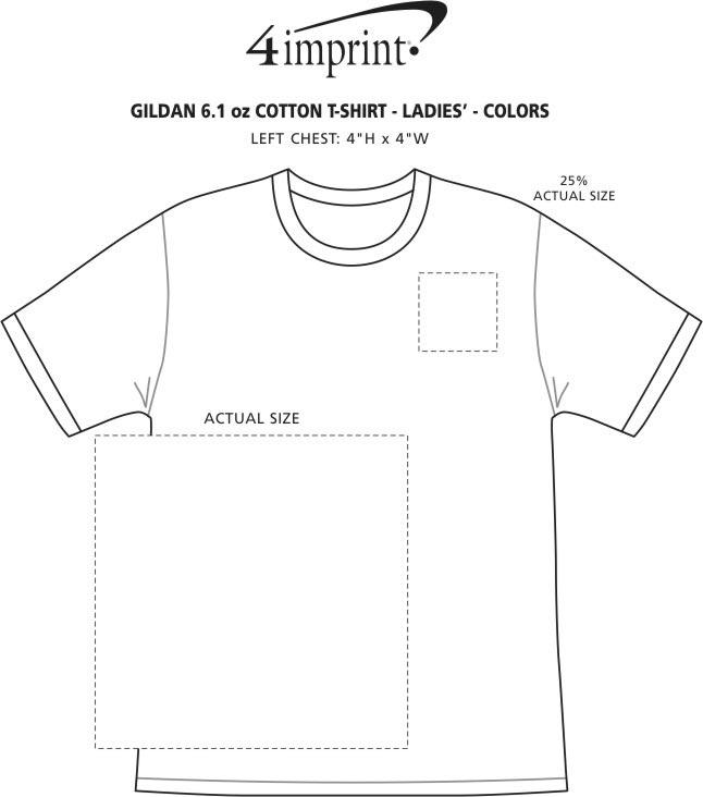 Imprint Area of Gildan 6 oz. Ultra Cotton T-Shirt - Ladies' - Screen - Colors