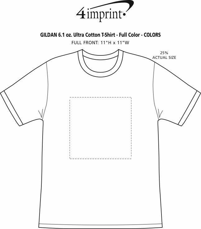 Imprint Area of Gildan 6 oz. Ultra Cotton T-Shirt - Men's - Full Color - Colors