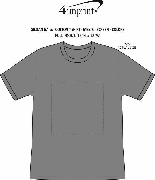 Imprint Area of Gildan 6 oz. Ultra Cotton T-Shirt - Men's - Screen - Colors