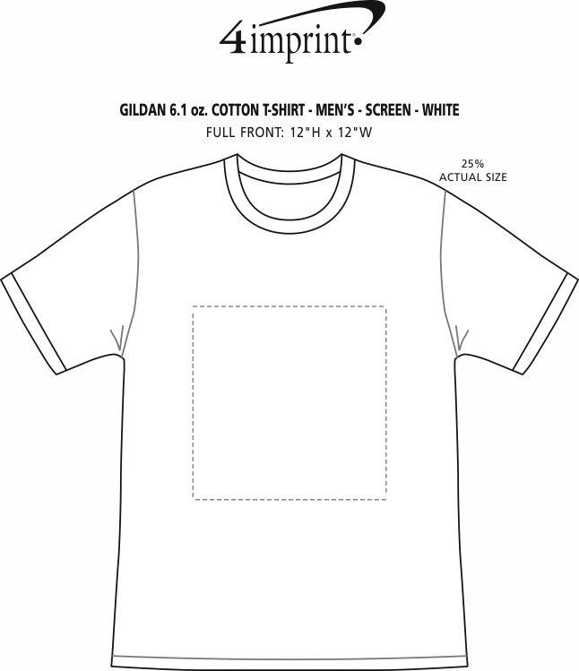 Imprint Area of Gildan 6 oz. Ultra Cotton T-Shirt - Men's - Screen - White