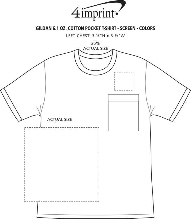 Imprint Area of Gildan 6 oz. Ultra Cotton Pocket T-Shirt - Screen - Colors