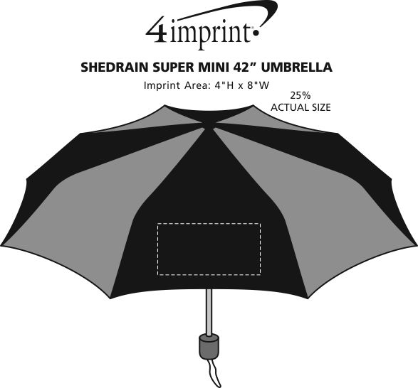 "Imprint Area of ShedRain Super Mini Umbrella - 42"" Arc"