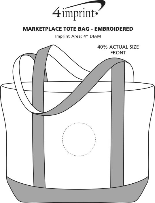 Imprint Area of Marketplace Tote Bag - Embroidered