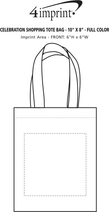 "Imprint Area of Celebration Shopping Tote Bag - 10"" x 8"" - Full Color"
