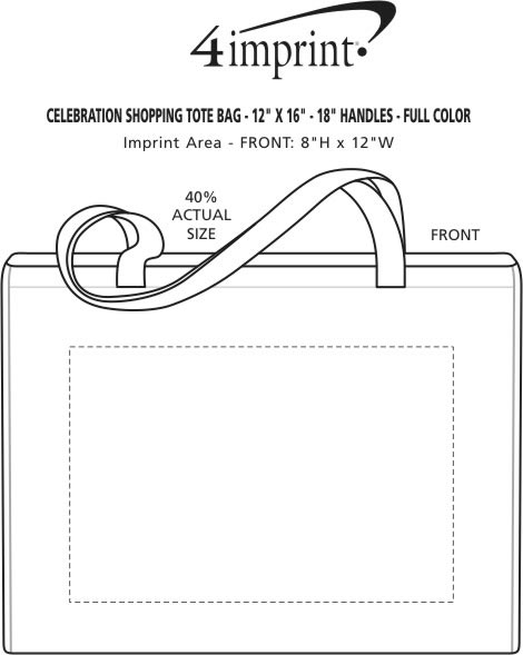 "Imprint Area of Celebration Shopping Tote - 12"" x 16"" - 18"" Handles - Full Color"