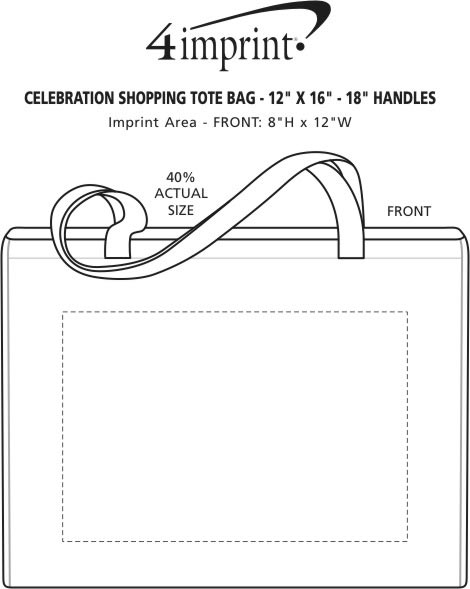 "Imprint Area of Celebration Shopping Tote Bag - 12"" x 16"" - 18"" Handles"
