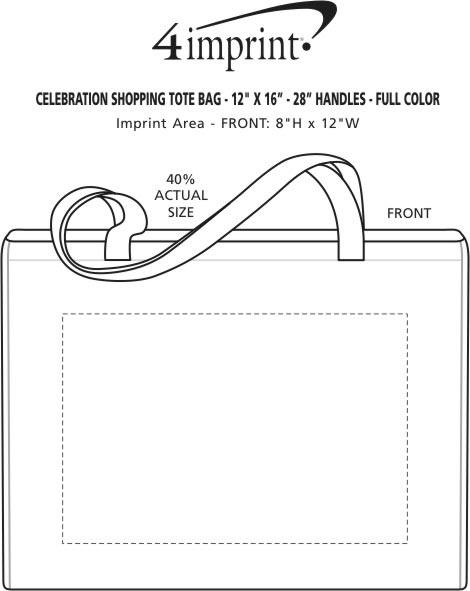 "Imprint Area of Celebration Shopping Tote - 12"" x 16"" - 28"" Handles - Full Color"