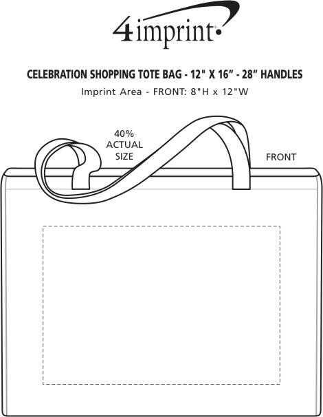 "Imprint Area of Celebration Shopping Tote Bag - 12"" x 16"" - 28"" Handles"