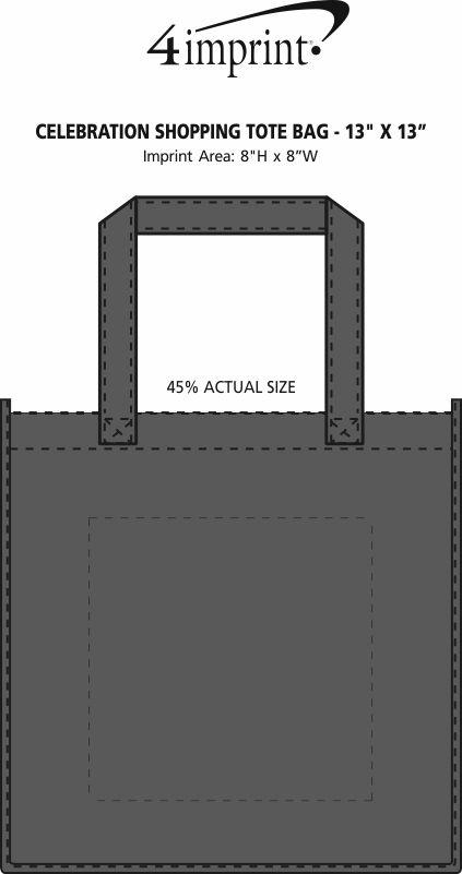 "Imprint Area of Celebration Shopping Tote Bag - 13"" x 13"""