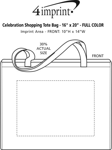 """Imprint Area of Celebration Shopping Tote Bag - 16"""" x 20"""" - Full Color"""