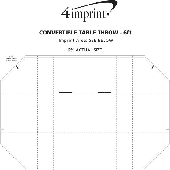 Imprint Area of Serged Convertible Table Throw - 4' to 6' - Full Color