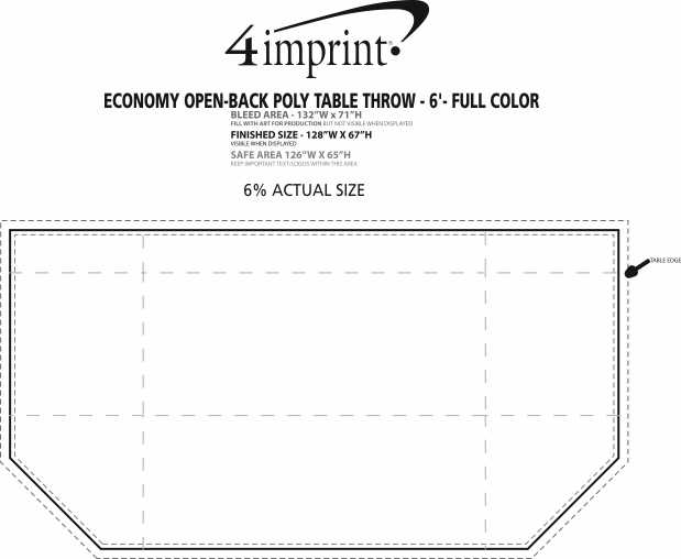Imprint Area of Serged Open-Back Polyester Table Throw - 6' - Full Color