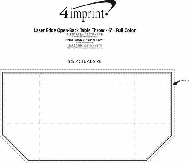 Imprint Area of Laser Edge Open-Back Table Throw - 6' - Full Color