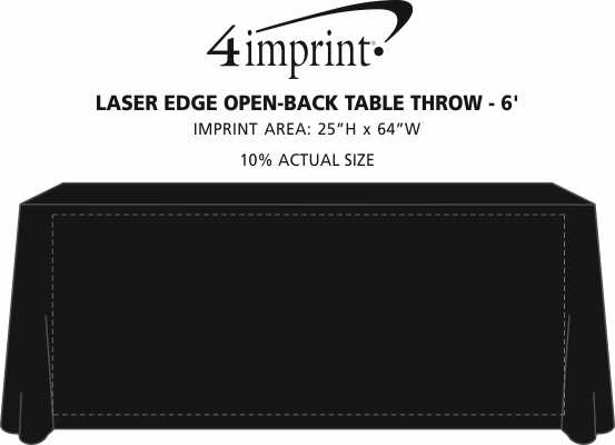 Imprint Area of Laser Edge Open-Back Table Throw - 6'