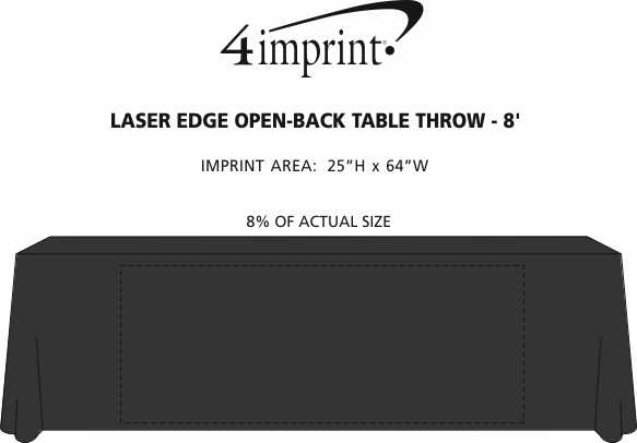 Imprint Area of Laser Edge Open-Back Table Throw - 8'