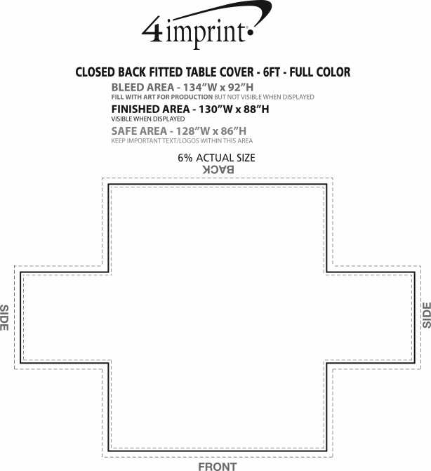 Imprint Area of Serged Closed-Back Fitted Table Cover - 6' - Full Color
