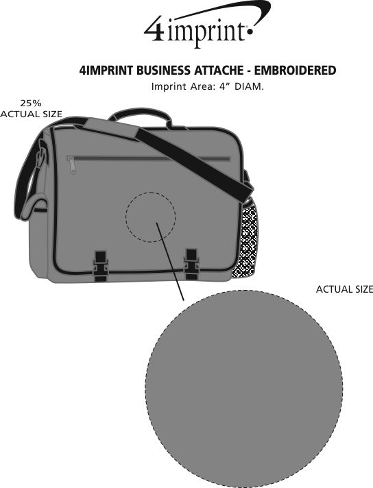 Imprint Area of 4imprint Business Attache - Embroidered