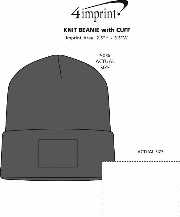 Imprint Area of Knit Beanie with Cuff