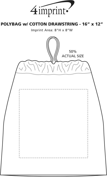 """Imprint Area of Poly Bag with Cotton Drawstring - 16"""" x 12"""""""